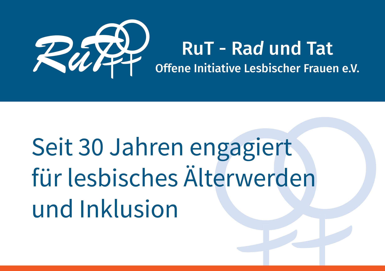 Das Bild zeigt den Titel der Broschüre 30 Jahre engagiert für lesbisches Älterwerden und Inklusion