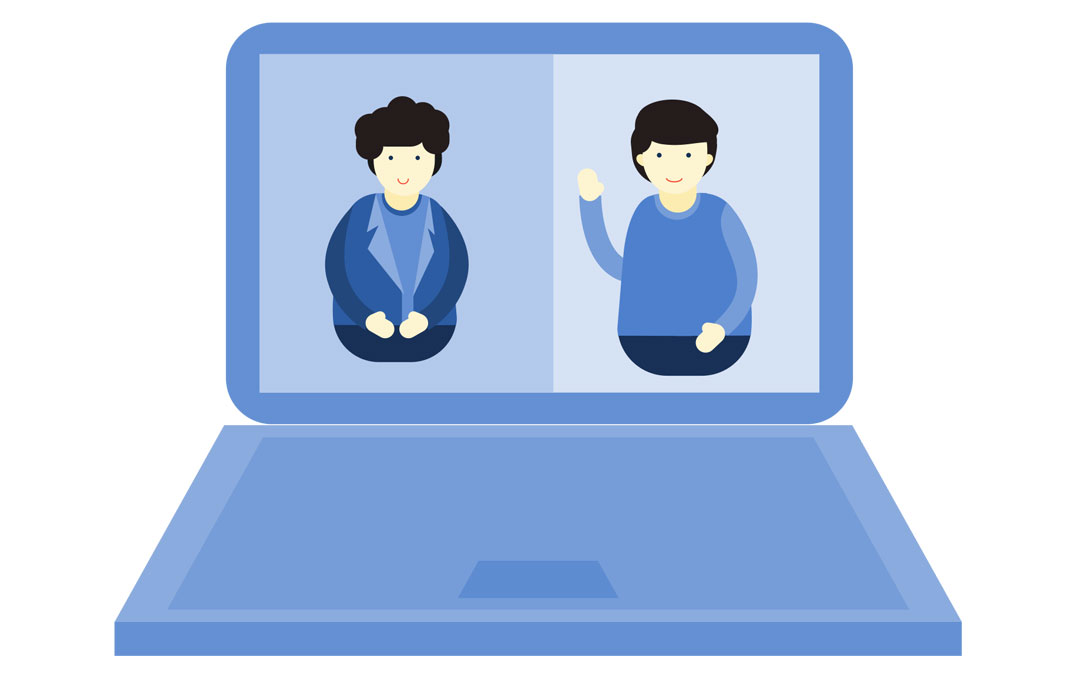 Das Bild zeigt zwei Frauen, die an einer Veranstaltung online teilnehmen