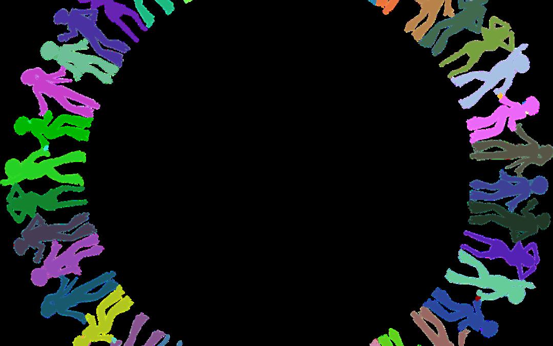 Das Bild zeigt eine Grafik mit Menschen, die im Kreis tanzen