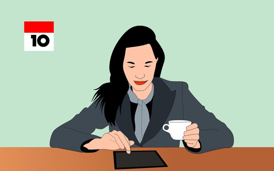 Das Bild zeigt eine Frau mit Tablet