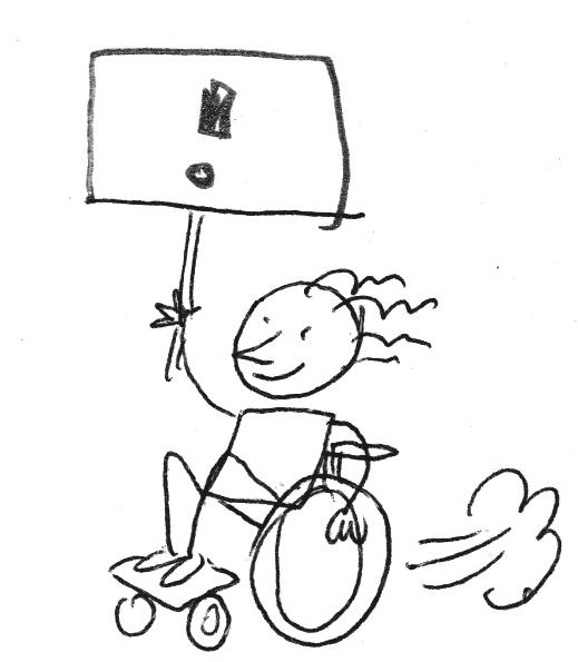 Das Bild zeigt eine gezeichnete Rollifahrerin