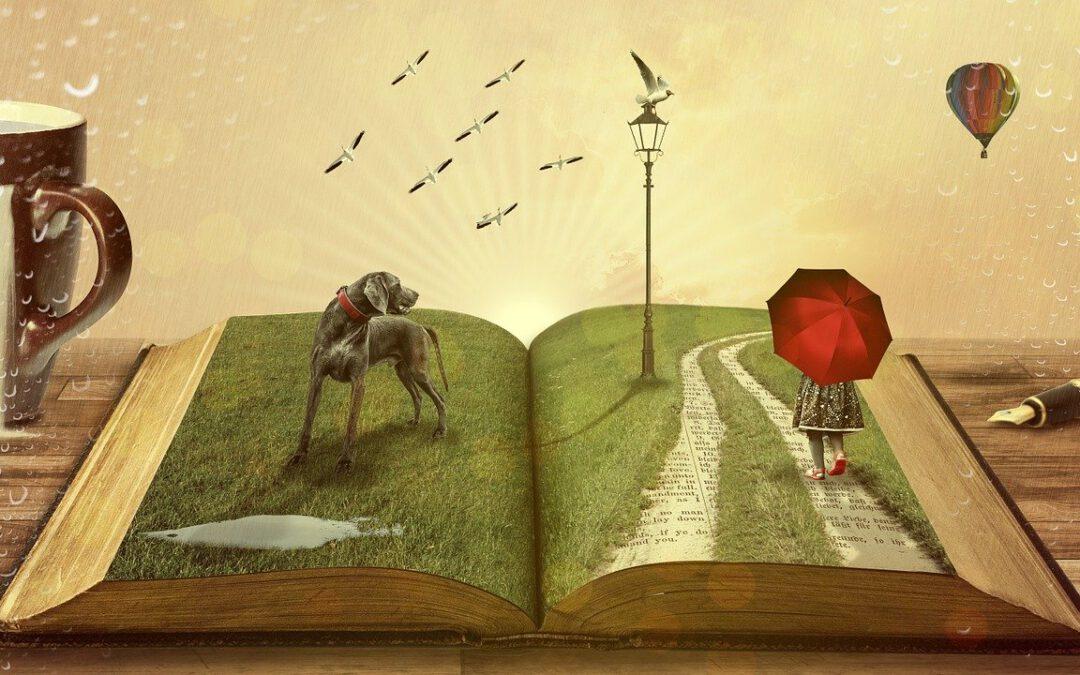 Das Bild zeigt ein aufgeschlagenes Buch mit einem Hund und einem Mädchen mit aufgespannten Regenschirm, die über die Buchseiten laufen