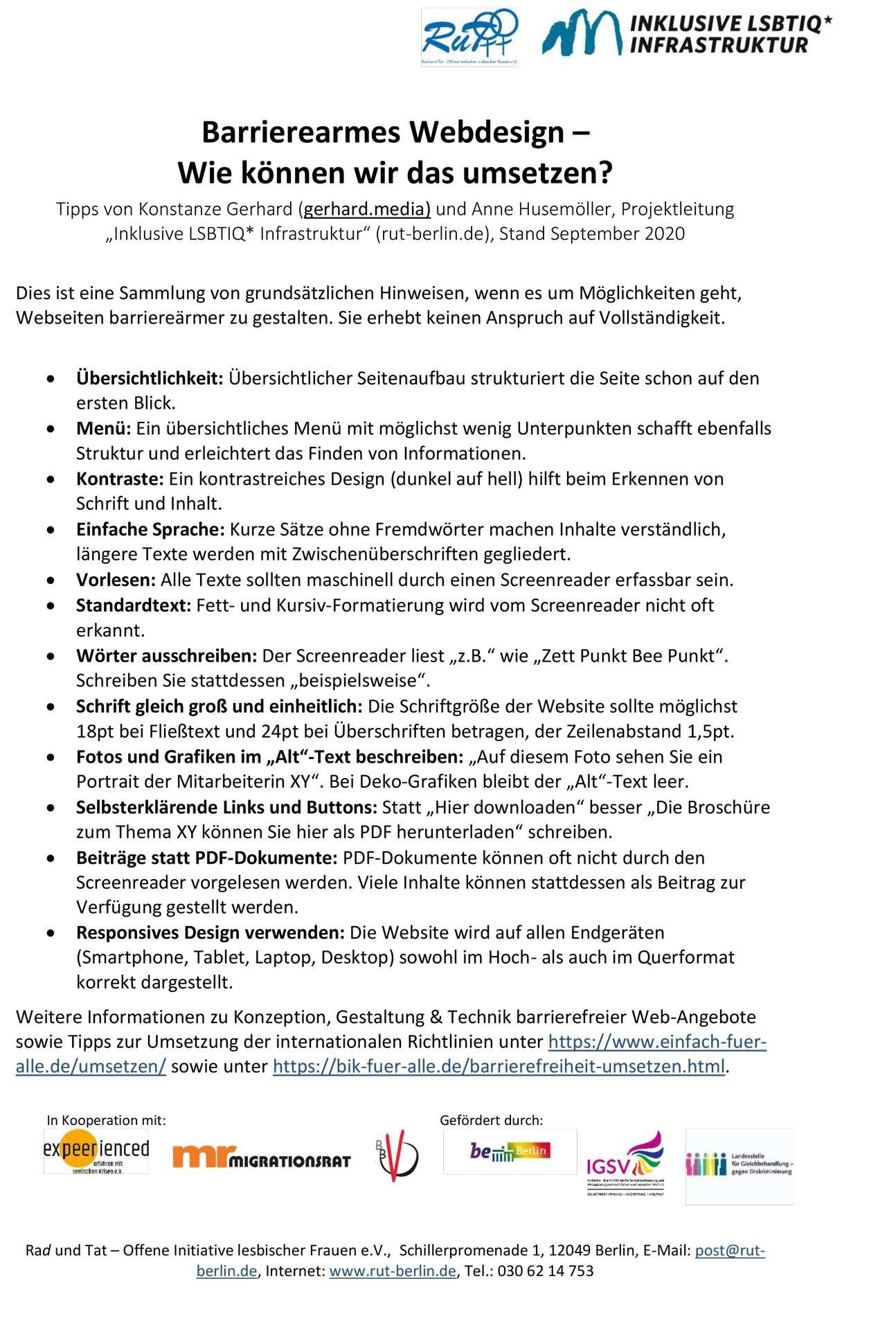 Bild vom PDF: Barrierearmes Webdesign – Wie können wir das umsetzen?