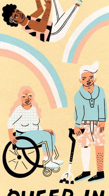 Die Grafik zeigt einen Flyer von Queer In - Gruppenangebot für queere Menschen mit Behinderung - Online