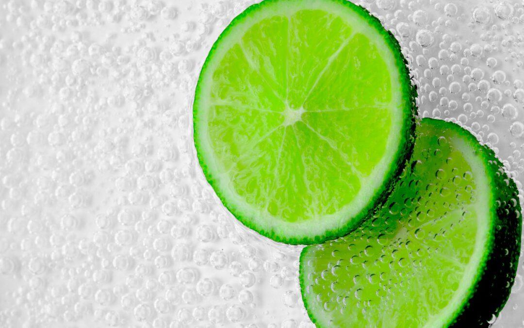 Das Foto zeigt 2 Limettenscheiben in Mineralwasser